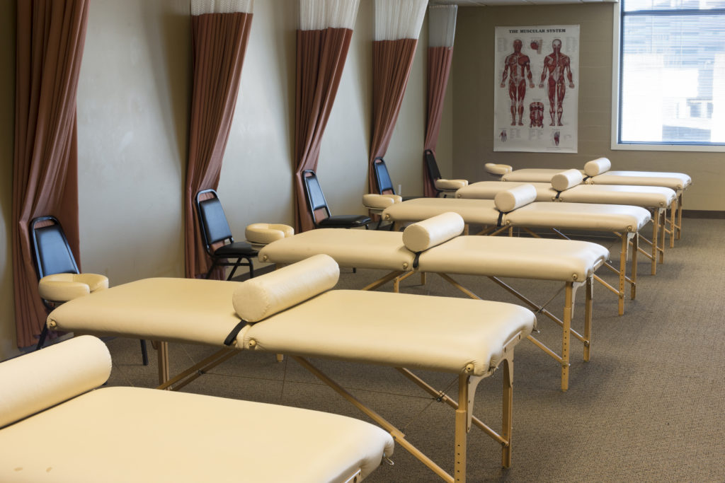 Massage tables in a room