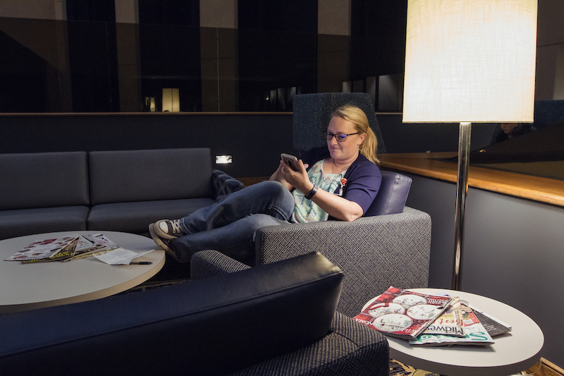 woman in lounge area
